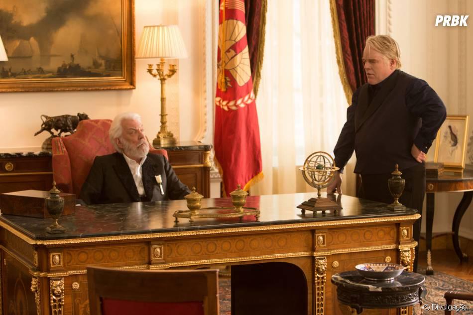 """Philip Seymour Hoffman atuou ao lado de Donald Sutherland em """"Jogos Vorazes: Em Chamas"""""""