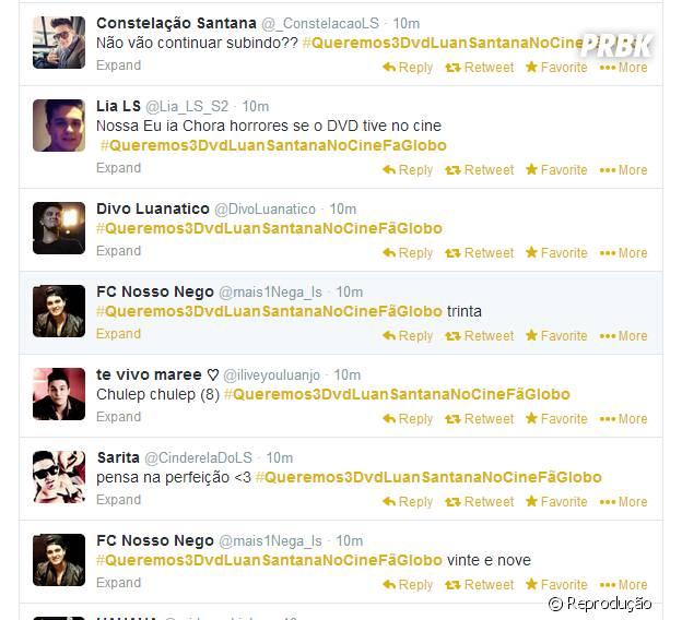"""As Luanettes inundaram o Twitter com a camapnha para a exibição do DVD """"O Nosso Tempo é Hoje"""" no Cine Fã Clube, na Globo"""