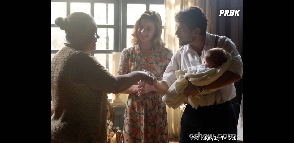 """Em """"Joia Rara"""", Viktor (Rafael Cardoso) contratou Bibiana (Dja Martins) para ser babá de Heitor"""