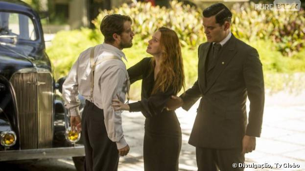 """Em """"Joia Rara"""", Viktor (Rafael Cardoso) tenta provar a Sílvia (Nathalia Dill) que Manfred (Carmo Dalla Vecchia) é o verdadeiro inimigo"""