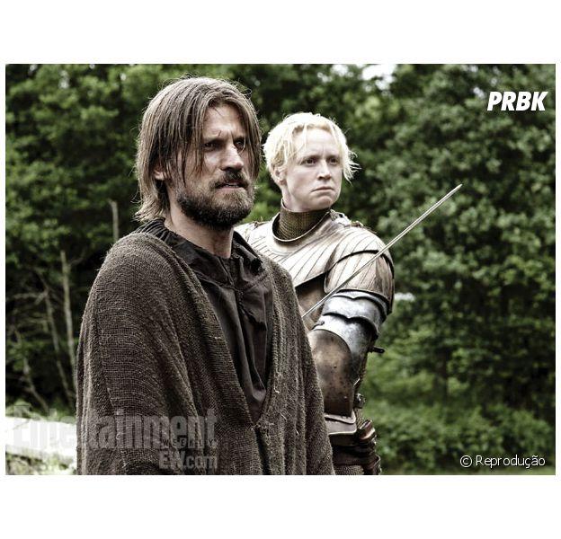 """Em """"Game of Thrones"""", Brienne (Gwendoline Christie) e Jaime (Nikolaj Coster-Waldau) podem esconder segredo!"""