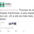 Fã se revolta com suposta atitude de Thomaz Costa, ex de Larissa Manoela, no Twitter