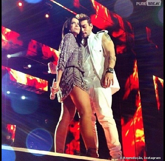 Anitta e Lucas Lucco agitaram a galera na gravação de DVD do cantor