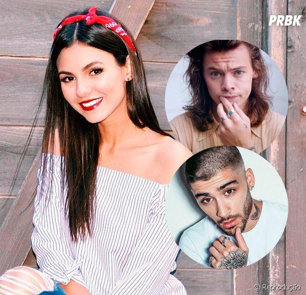 "Victoria Justice, de ""Victorious"", usa filtro com rostos de Zayn Malik e Harry Styles, do ""One Direction"""