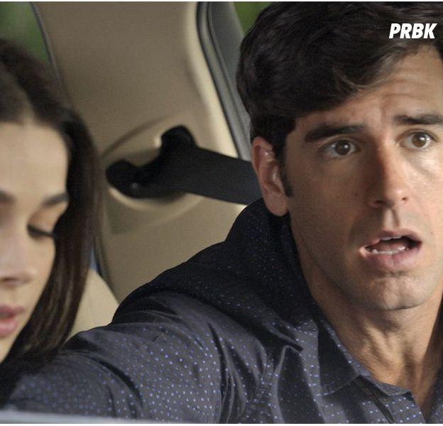 """Em """"Haja Coração"""", Felipe (Marcos Pitombo) salva Shirlei (Sabrina Petraglia) de acidente e rola clima!"""