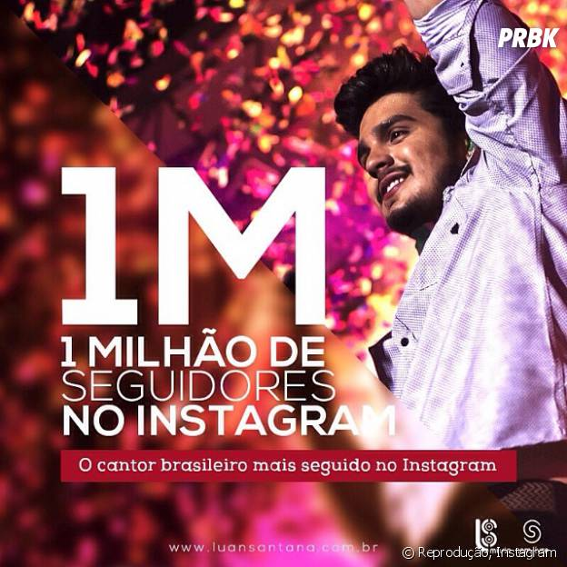 Luan Santana com mais de um milhão de seguidores no Instagram