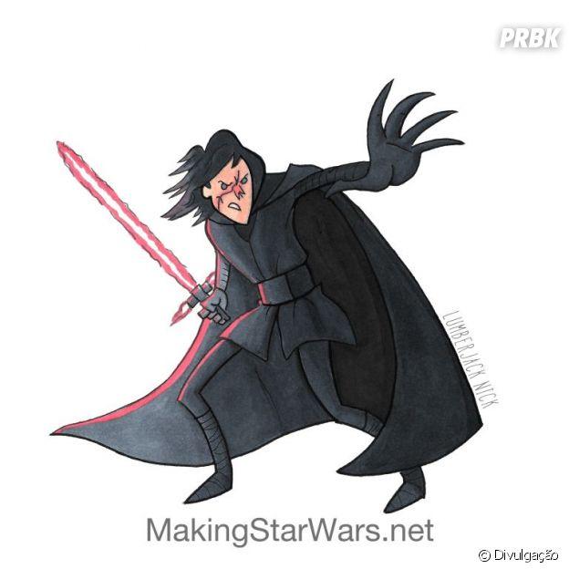 """De """"Star Wars: Os Últimos Jedi"""": Kylo Ren ganha uma nova cara e arte anima fãs!"""