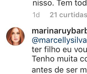 Marina Ruy Barbosa responde comentários de fãs sobre possibilidade de ser mãe