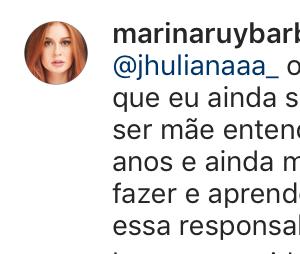 Marina Ruy Barbosa esclareceu aos fãs o que pensa sobre ter filhos