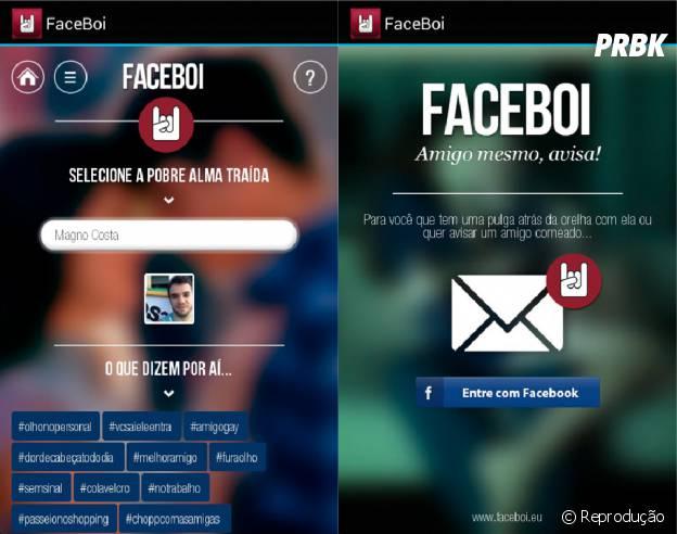 """""""Com o """"Faceboi"""" você pode mandar mensagens anônimos para seus amigos para avisá-los de que estão sendo traídos"""