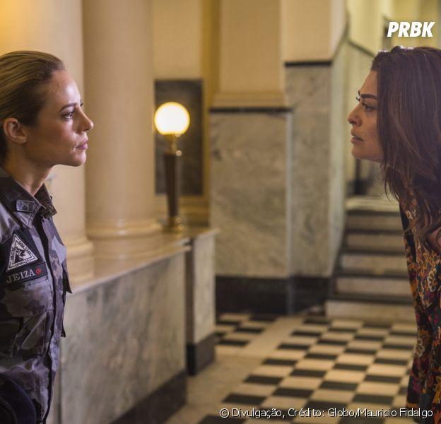 "Novela ""A Força do Querer"": Bibi (Juliana Paes) arma para Zeca (Marco Pigossi) ser preso e debocha de Jeiza (Paolla Oliveira)"