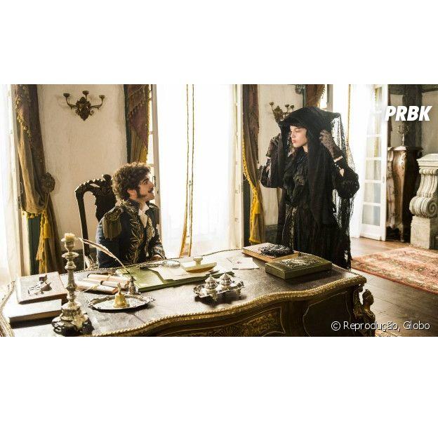 """Em """"Novo Mundo"""", Domitila (Agatha Moreira) se veste de viúva para falar com Dom Pedro (Caio Castro)"""