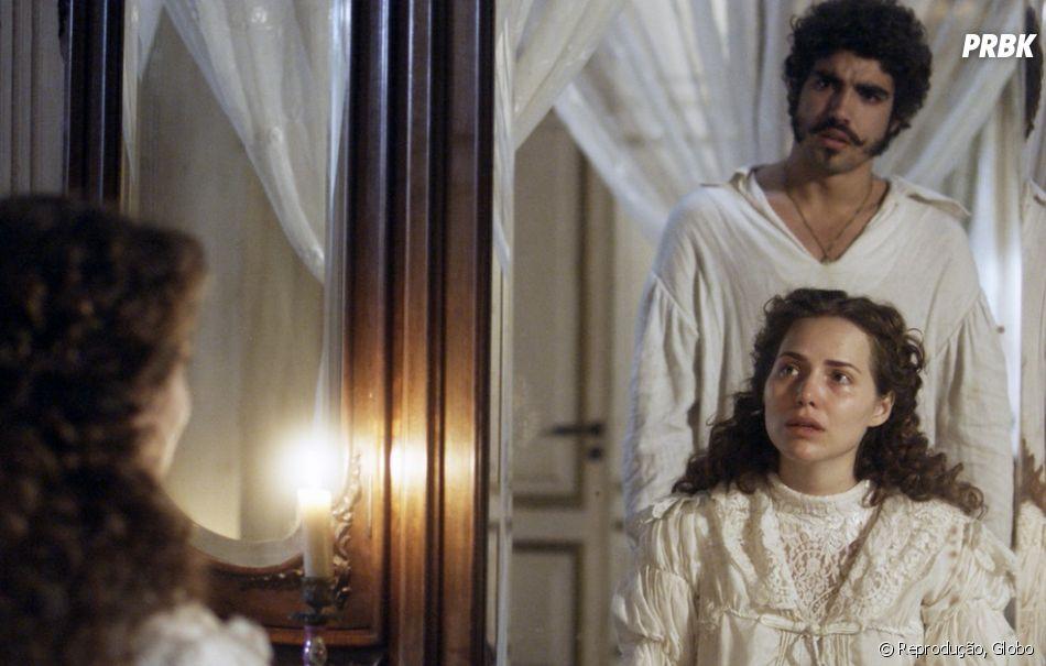 """Em """"Novo Mundo"""", Dom Pedro (Caio Castro) manda Domitila (Agatha Moreira) ir embora depois de beijo"""