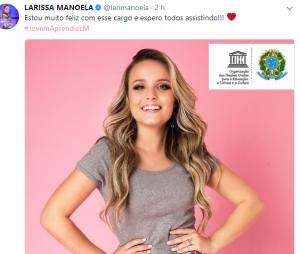 No Twitter, Larissa Manoela anuncia nomeação como Embaixadora da Boa Vontade da UNESCO
