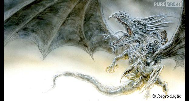 """Ilustração da capa americana de """"O Dragão de Gelo"""", de George R. R. Martin"""