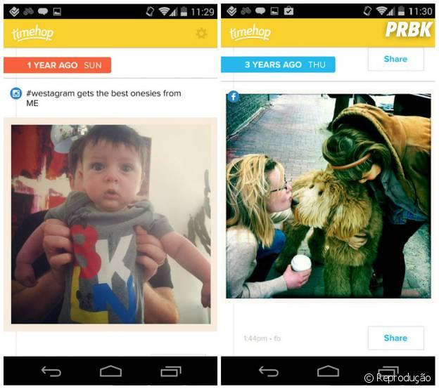 O aplicativo acessa as fotos do Instagram, Facebook, e Twitter