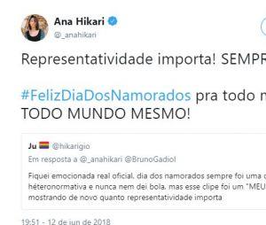 """Ex companheira de Bruno em """"Malhação"""", Ana Hikari apoiou o amigo em seu Twitter"""