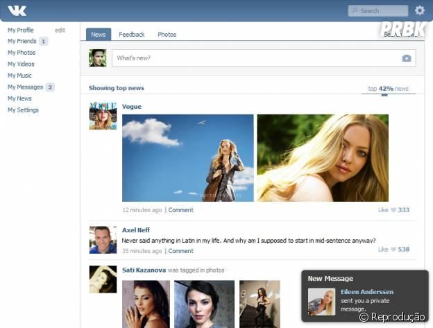 Feed de notícias do VK, o Orkut Russo