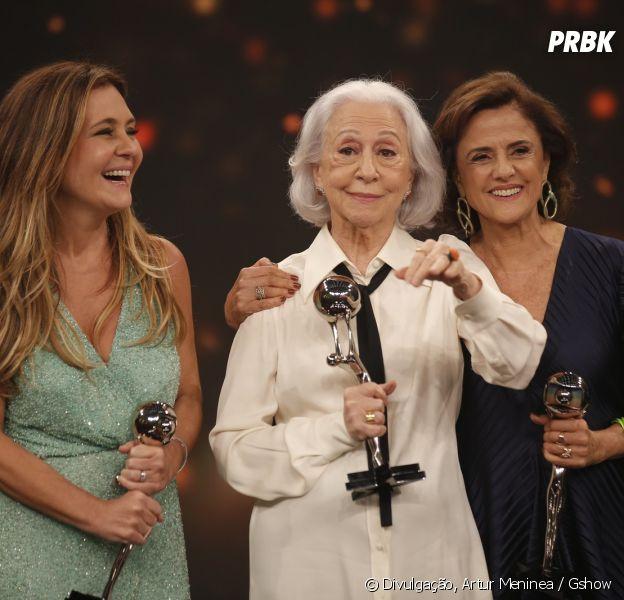 """Adriana Esteves, Fernanda Montenegro e Marieta Severo foram premiadas no Melhores do Ano e fizeram um discurso emocionante no """"Domingão do Faustão"""""""