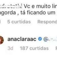 """A ex-""""BBB18"""" Ana Clara deu as melhores respostas para os comentários gordofóbicos na sua foto"""