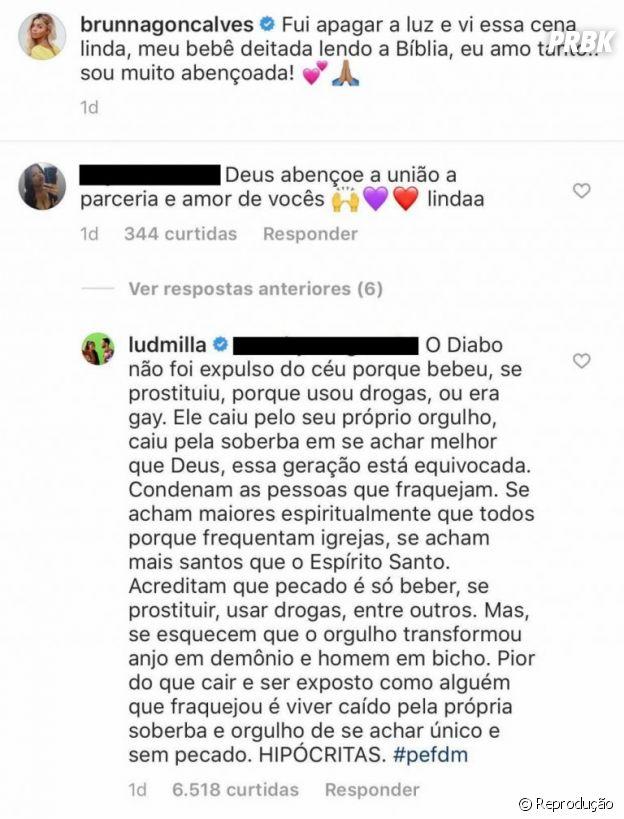 Ludmilla responde comentário homofóbico de seguidor no Instagram