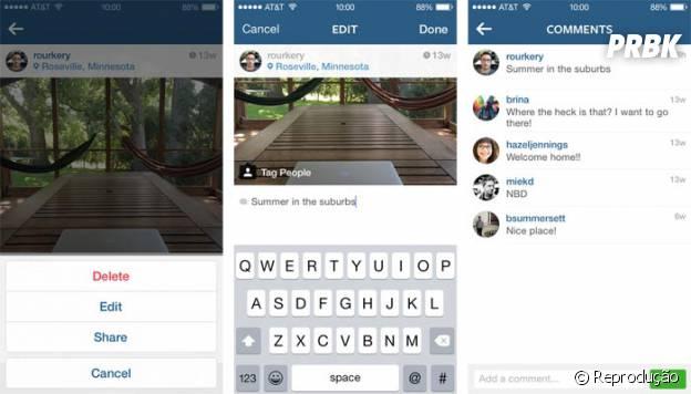 Instagram permite editar legendas das fotos