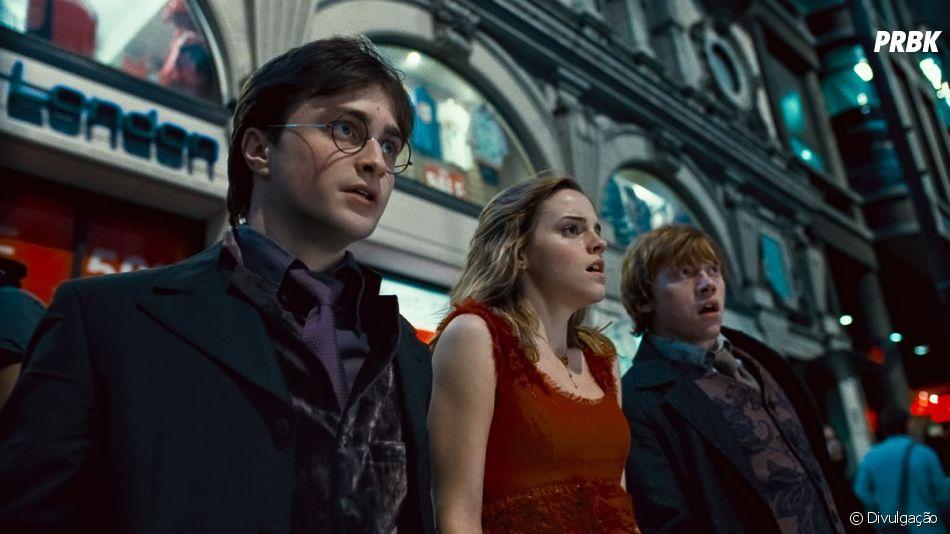 """Harry Potter"": Daniel Radcliffe, Emma Watson e Rupert Grint eram os três protagonistas da saga, Harry, Hermione e Ronny, respectivamente"