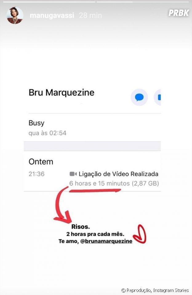 Manu Gavassi ficou mais de seis horas em chamada de vídeo com Bruna Marquezine