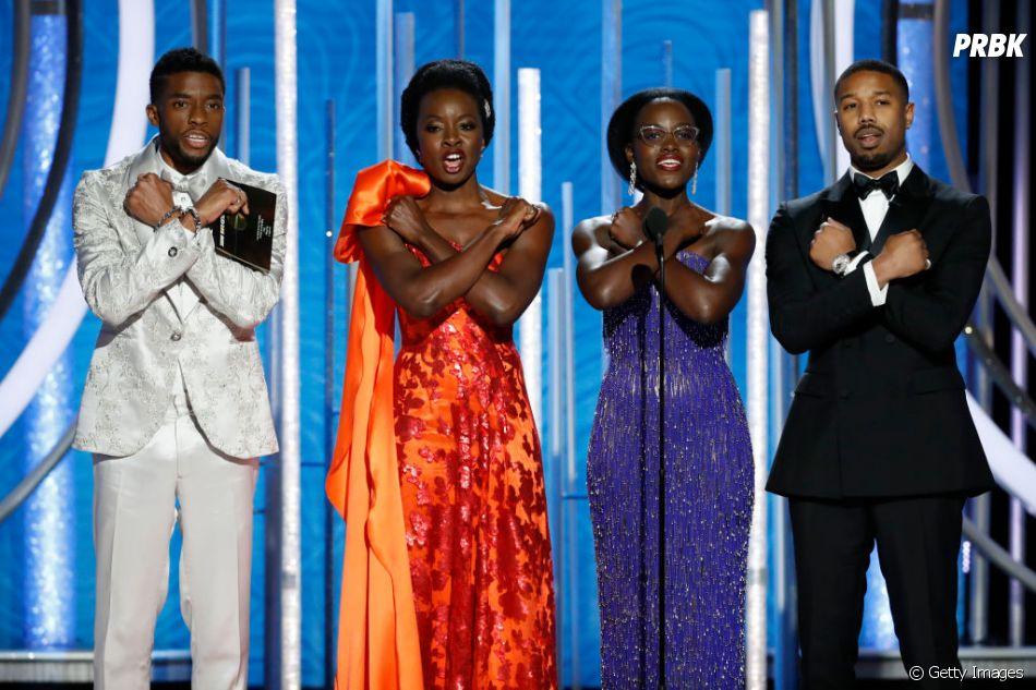 """Chadwick Boseman, Danai Gurira, Lupita Nyong'o e Michael B. Jordan fizeram história em """"Pantera Negra"""", o primeiro filme de super-herói com um protagonista e elenco negros"""