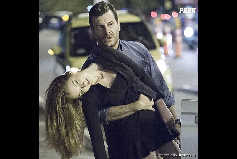 "Em ""Império"", Maria Isis (Marina Ruy Barbosa) desmaiou nos braços de Josué (Roberto Birindelli) ao ver José Alfredo (Alexandre Nero)"