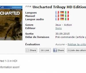 """Printscreen do site listando """"Uncharted: The Remastered Trilogy"""" para pré-compra"""