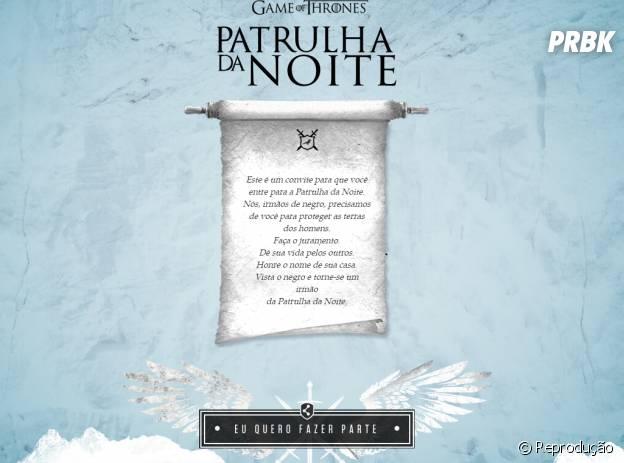 """Internautas são convidados para integrar a Patrulha da Noite em app de """"Game Of Thrones"""" no Facebook"""