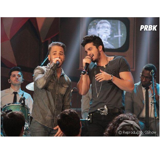 """No """"Altas Horas"""", Luan Santana canta com Junior Lima, da dupla Sandy & Junior"""