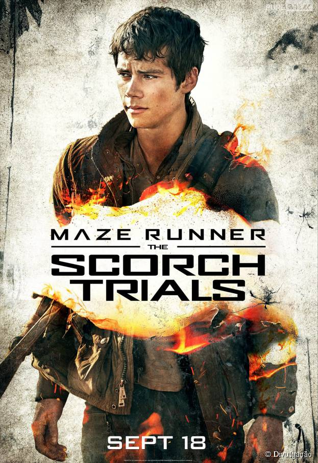 """O mocinho Thomas (Dylan O'Brien) aparece em um novo cartaz de """"Maze Runner 2: Prova de Fogo"""", o"""