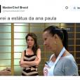 """Mas não é que a Ana Paula Padrão, do """"MasterChef Brasil"""", ficou mesmo parecida com uma estátua?"""