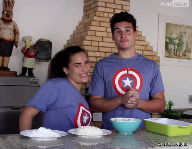 """Nicolas Prattes e Lívian Aragão, de """"Malhação"""", tinham um vlog culinãrio chamado """"Perigo na Cozinha"""""""