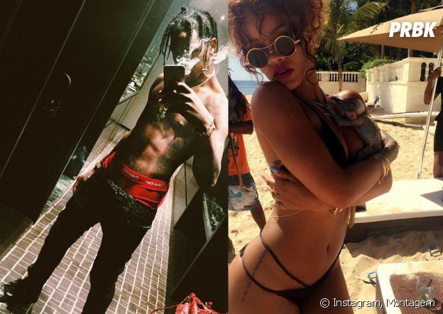 Rihanna e Travis Scott sensualizando