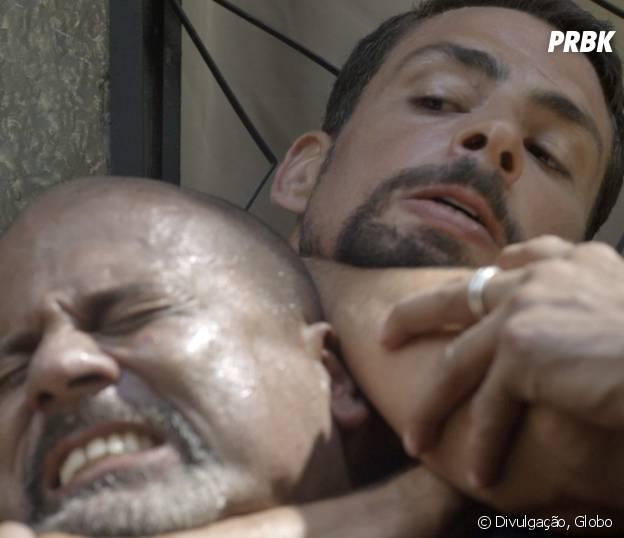 """Novela """"A Regra do Jogo"""": Juliano (Cauã Reymond) salva Dante (Marco Pigossi)!"""