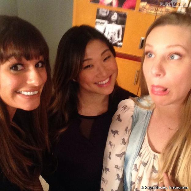 """Lea Michele reunida novamente em """"Glee"""" com Jenna Ushkowitz e Heather Morris!"""