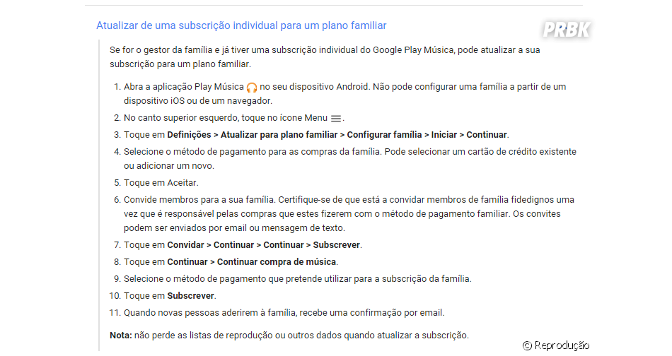 Do Google Play Música: ative o plano família acessando as configurações da sua conta