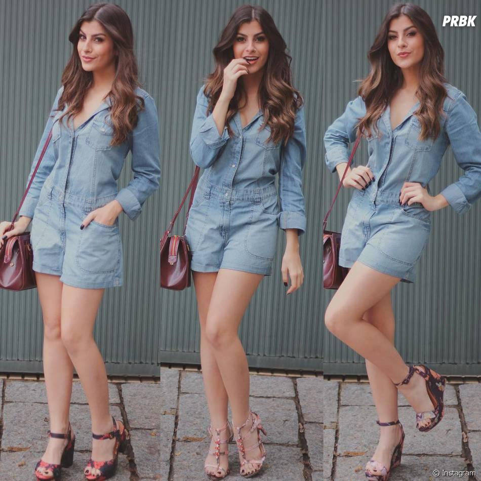 a5fdc5bcce779 Nah Cardoso usa o total jeans com três sapatos diferentes, super versátil!