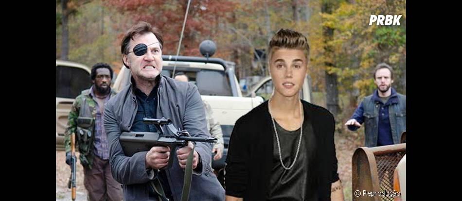 """Até Justin Bieber se tornou uma vítima do Governador (David Morrissey) na zoeira em """"The Walking Dead"""""""