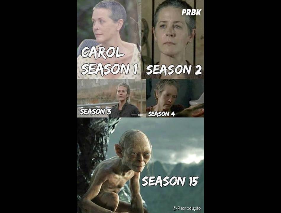 """Carol (Melissa McBride) também não escapou da brincadeira, quem diria que ela se tornaria o Smeagol em """"The Walking Dead""""?!"""