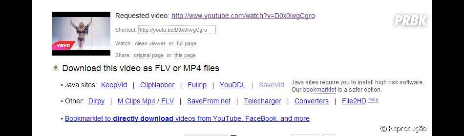 """Acrescente """"pwn"""" e escolha o formato para baixar um vídeo"""