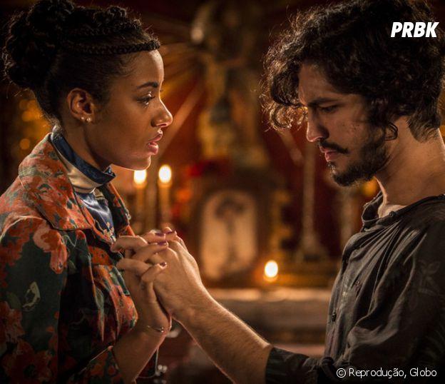 """Em """"Velho Chico"""", Miguel (Gabriel Leone) e Sophie (Amy Camara) transam e Olívia (Giullia Buscacio) flagra tudo!"""