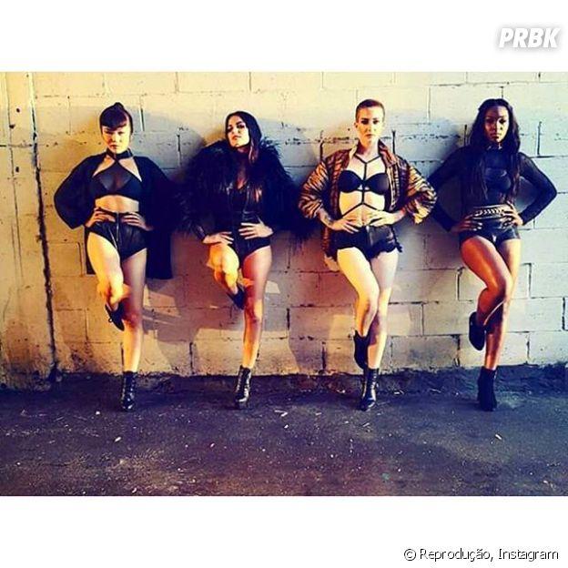 Maite posta foto com as bailarinas na gravação do clipe de seu novo single.