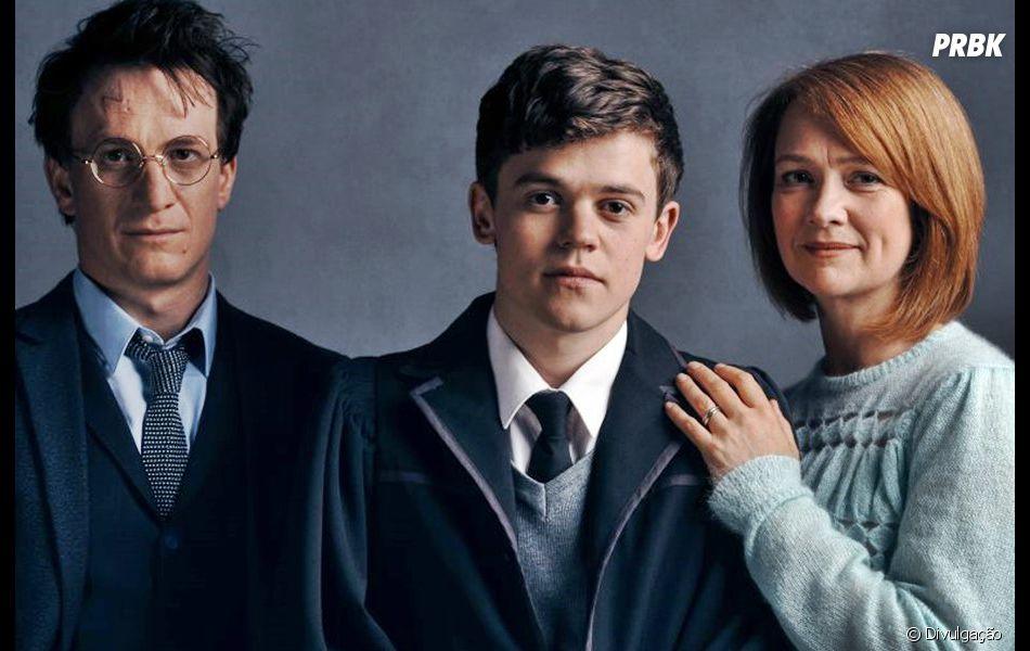 """Em """"Harry Potter e a Criança Amaldiçoada"""",Harry, Gina e Albus Potter são interpretados por Jamie Parker, Poppy Miller e Sam Clemmett"""