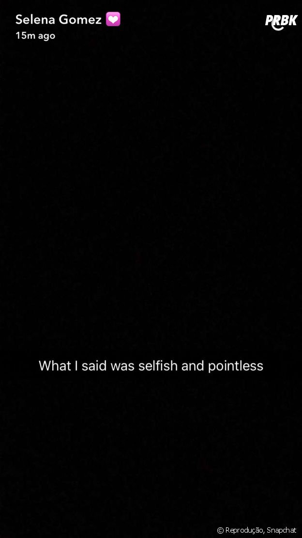 No Snapchat, Selena Gomez faz post em relação à briga com Justin Bieber