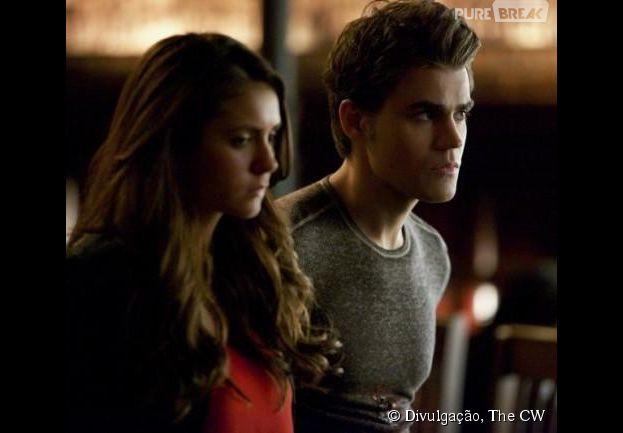 """Em """"The Vampire Diaries"""", Stefan (Paul Wesley) e Elena (Nina Dobrev) terão que se esconder"""