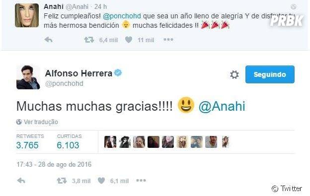 Anahi deseja feliz aniversário a Alfono Herrera, ex-companheiro do RBD